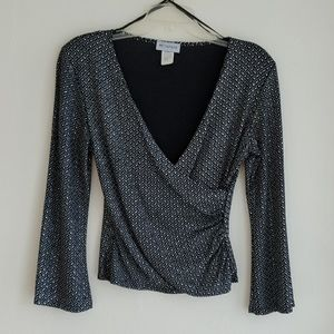 Metaphor Black & Shiny crossover blouse Sz: Md